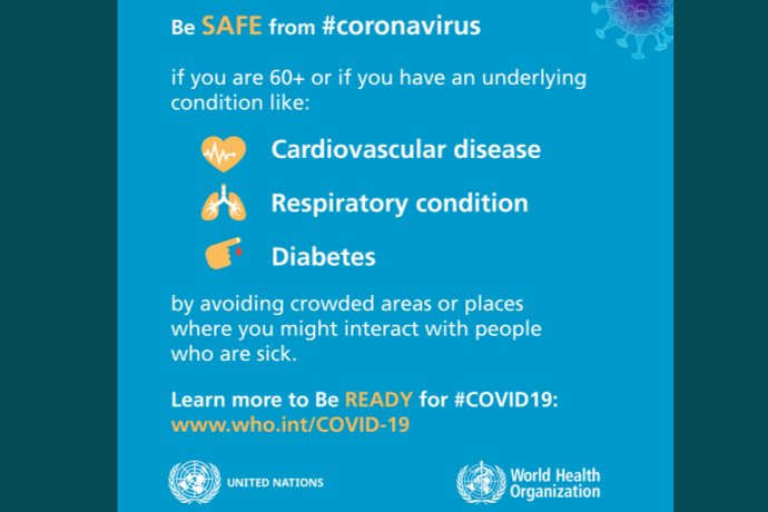 If you are over 60+, have cardiovascular disease, asthma, or diabetes you may be at high risk of COVID-19