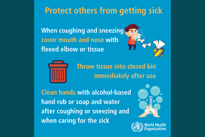 Protect others from COVID-19 by washing your hands frequently, covering coughs and sneezes, and staying home