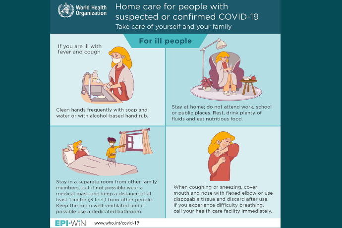 If you are ill with COVID-19, rest and get lots of fluids and nutritious food, and stay in a room away from others
