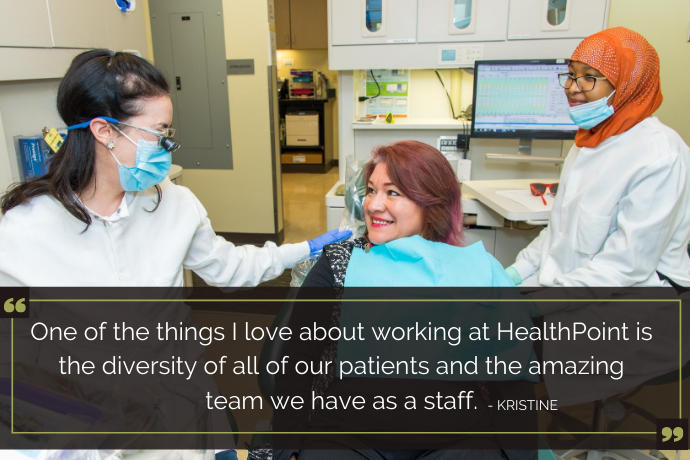 Dental staff and patient